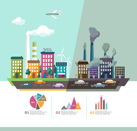 contaminacion ambiental: Medio Ambiente de la ciudad moderna. Diseño plano.