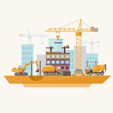 excavator: Construction of modern buildings. Flat design.