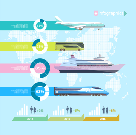 air liner: Transportation infographics. Flat design.