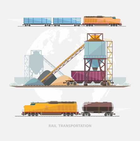goods station: Rail transportation. Flat design. Illustration