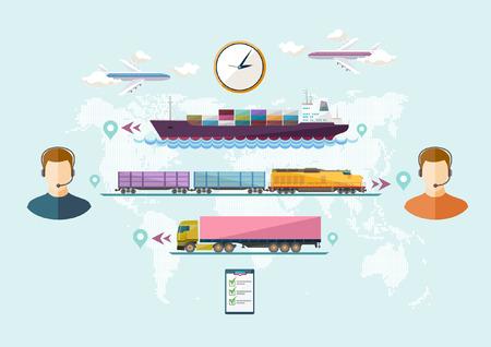 Trasporto globale di merci. Design piatto. Vettoriali