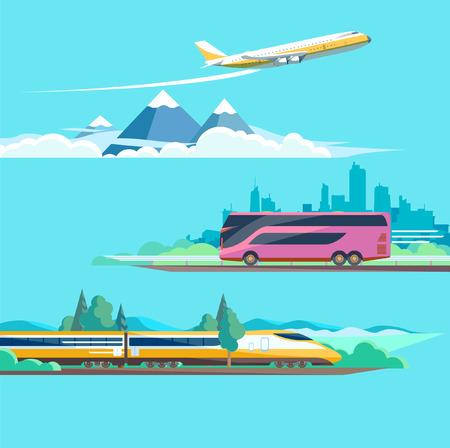 Reizen naar verschillende vervoer. Platte design.