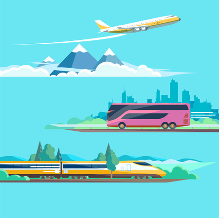 flat earth: Travel to different transport. Flat design.