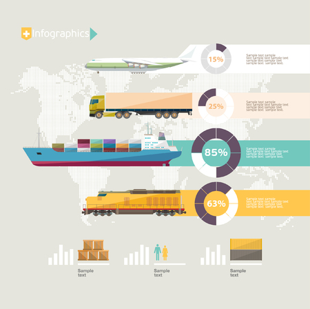global logistics: Transportation infographics. Flat design.