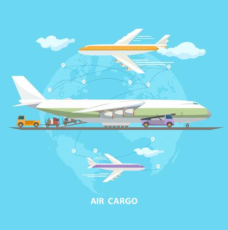 air plane: Air transportation. Flat design.