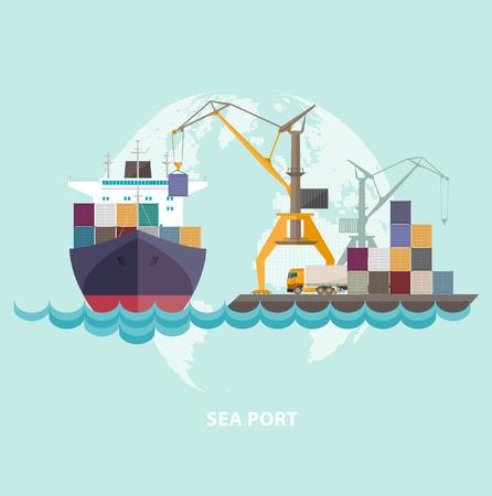 Vrachtschip zeehaven met schepen en kranen. Stock Illustratie
