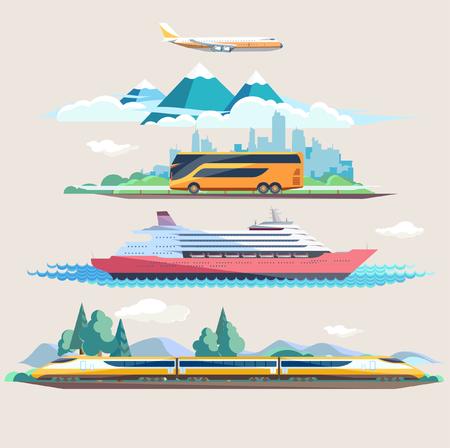 air transport: Travel to different transport. Flat design.