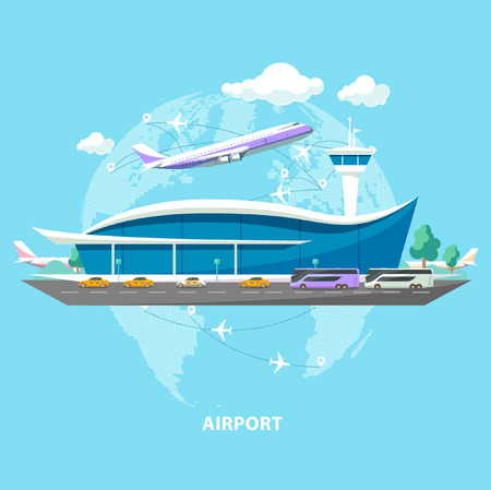 International airport. Flat design. 版權商用圖片 - 45651086