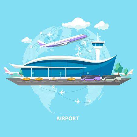 flug: Internationaler Flughafen. Flache Bauweise.