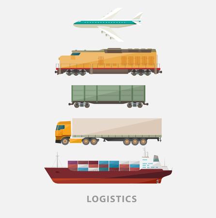 the railway: Freight transport. Flat design. Illustration