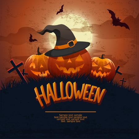Happy Halloween poster. Flat design.