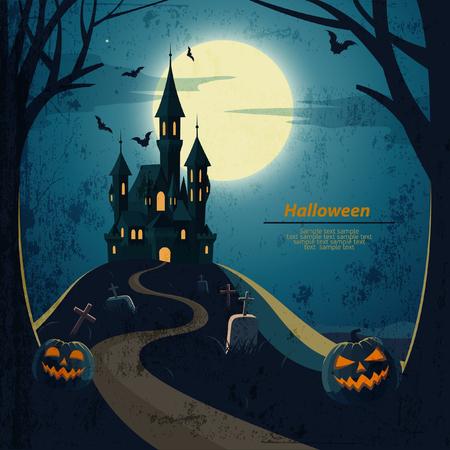 vektor: Halloween-Landschaft mit Schloss und Friedhof.