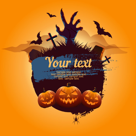 cloud background: Halloween poster with cemetery and pumpkin