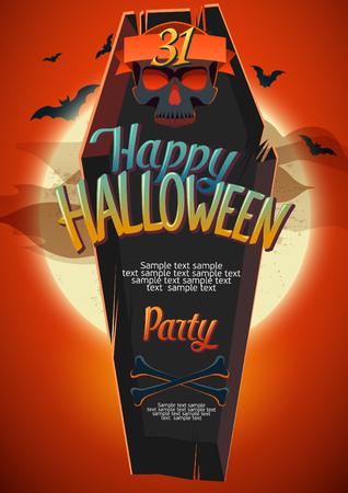 trumna: Plakat Halloween z trumny i ludzkie kości