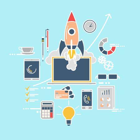 business innovation: Startup concept. Flat design.