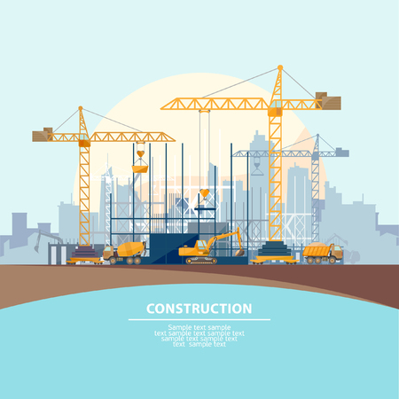 construction: Construction of modern buildings. Flat design.