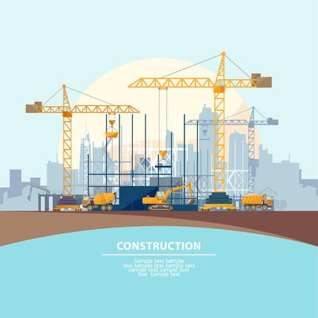 De bouw van moderne gebouwen. Platte design.