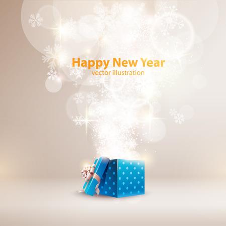 felicitaciones: Fondo de Navidad con caja de regalo abierta. Vectores