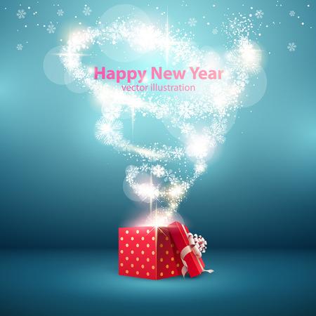 sorpresa: Fondo de Navidad con caja de regalo abierta. Vectores