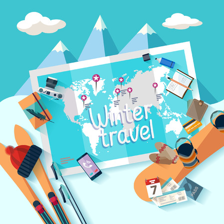 airplane travel: Winter travel. Flat design.