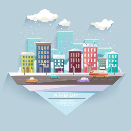european: Winter city. Flat design. Illustration
