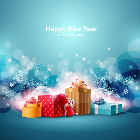 christmas gifts: Christmas gifts boxes on blue background. Illustration