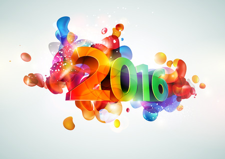 Nieuwe jaar poster. Kleurrijk ontwerp. Stock Illustratie