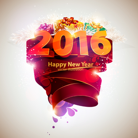 happy new year: Frohes Neues Jahr 2016 Illustration