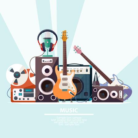 estudio de grabacion: Cartel con instrumentos musicales. Diseño plano.