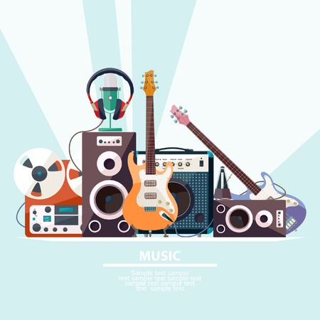 Poster with musical instruments. Flat design. Иллюстрация