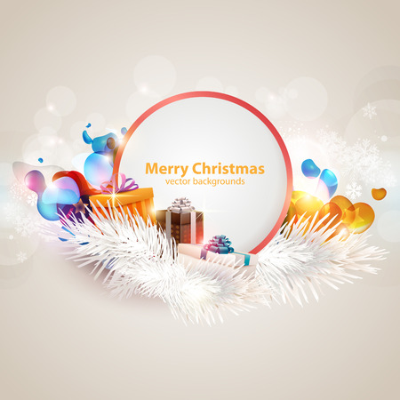 open box: Christmas poster with gifts. Illustration