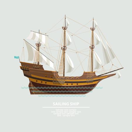 Oude zeilschip. Platte design.