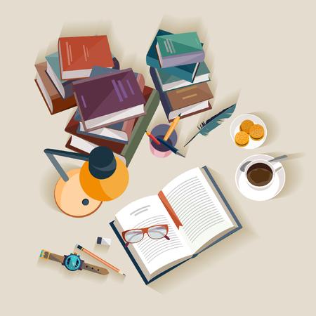 reading lamp: Reading books. Flat design.