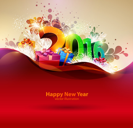 Happy new year 2016. Colorful design. Illustration