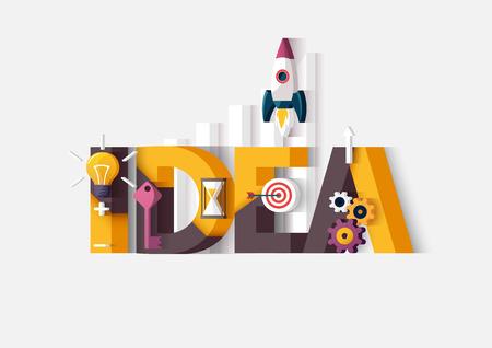 Idea concept. Typografische poster. Stock Illustratie