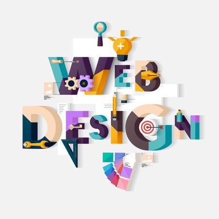 Web design concept. Flat design. 일러스트