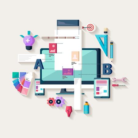 웹 디자인, 웹 사이트를 만드는. 플랫 디자인.