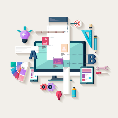 contents: Web design, creating website. Flat design.