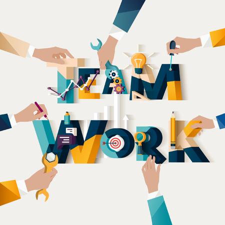 teamwork hands: Teamwork concept. Typographic poster.