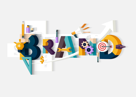 koncepció: Brand szó. Koncepció illusztráció. Illusztráció