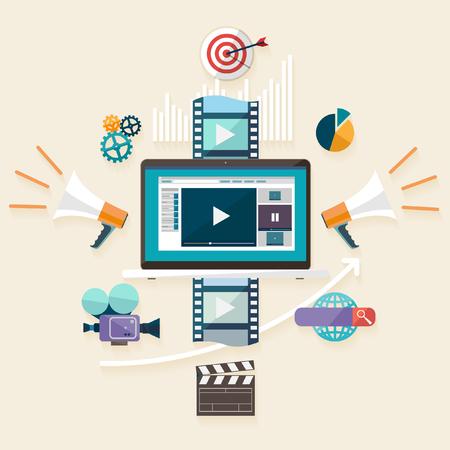 Digitales Marketing. Flaches Design. Standard-Bild - 47833019