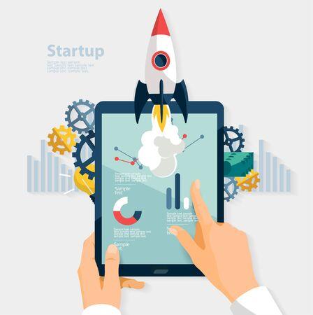 touching hands: Startup concept. Flat design.
