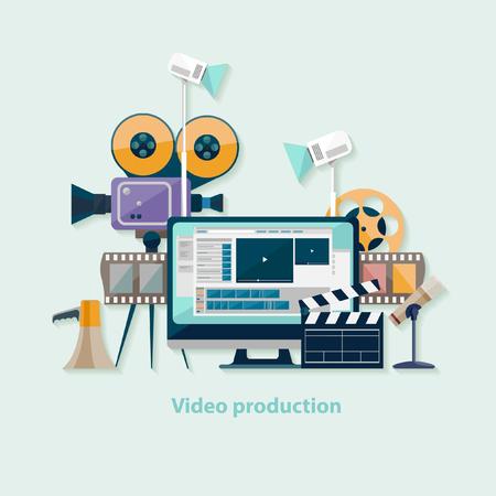 camara de cine: Producción de vídeo. Diseño plano.