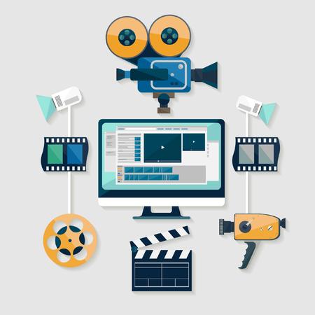 Video production. Flat design.
