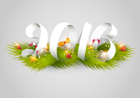 furtree: New Year 2016.Typographic poster. Illustration