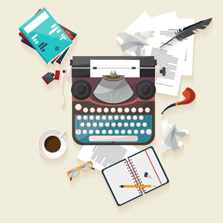 maquina de escribir: Escritor lugar de trabajo. Diseño plano.