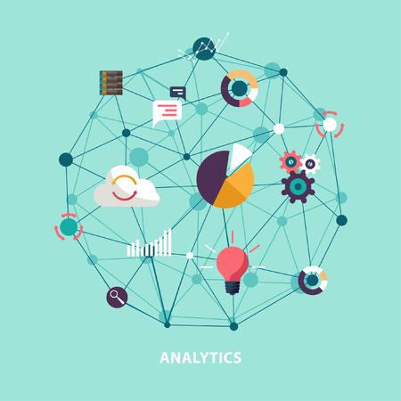 Datenanalyse. Flaches Design.
