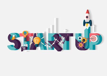 gestion empresarial: Poner en marcha el concepto. Cartel tipográfico.