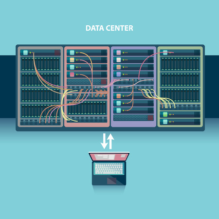 database server: Server room. Flat design.