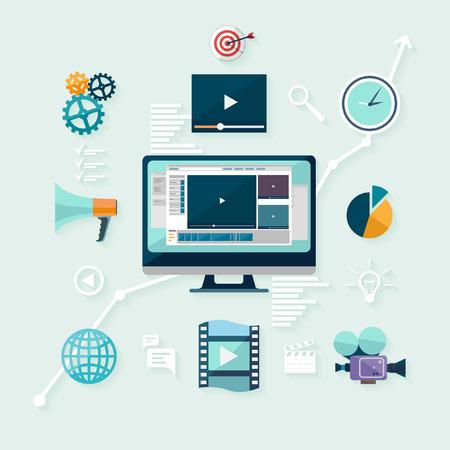 Digitales Marketing. Flaches Design.